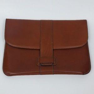 Vintage 70s Charles Jourdan Brown Leather Clutch